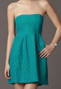 Fossil Green Lace Strapless Dress